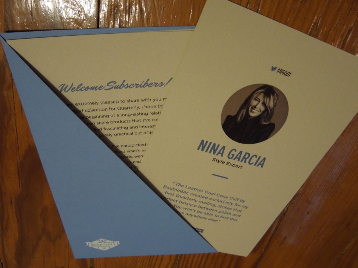 Nina Garcia Quarterly Box – November2013