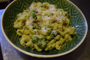 Broccoli Pesto Cavatappi with Pumpkin Seeds & Cannellini Beans