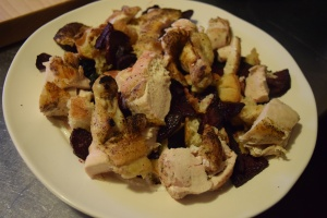 Roasted Chicken and Beets with Horseradish Yogurt & Croutons