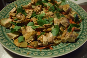 Chicken with Miso-Tahini Sauce Carrrots and Potatoes