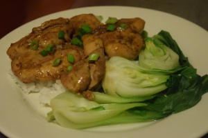 Caramel Chicken with Steamed Bok Choy