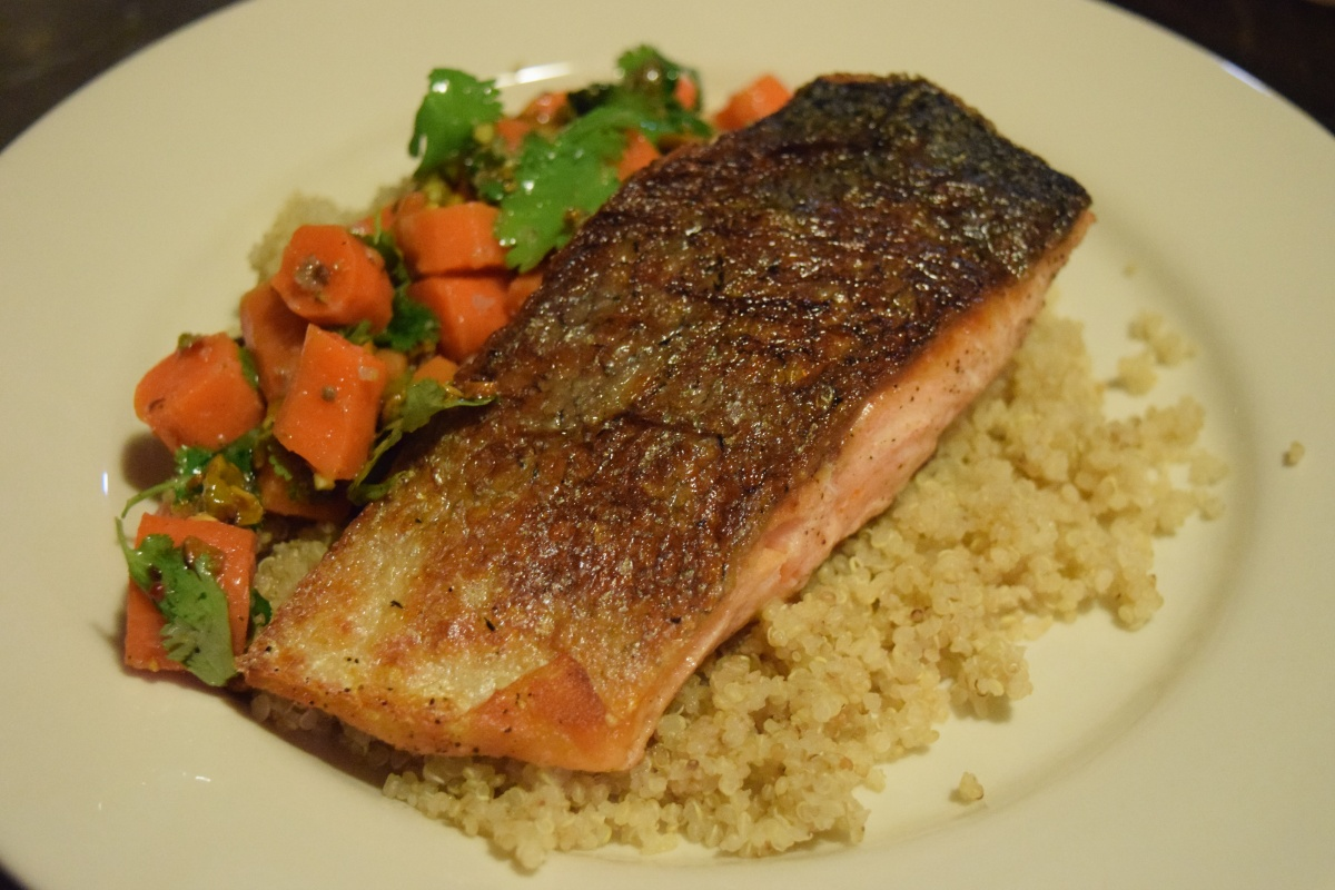Marley Spoon: Crispy Skinned Salmon with Coriander Carrot Salad Plus $30 Coupon Code