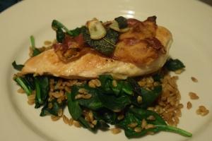Sage & Pancetta Chicken with Farro & Spinach