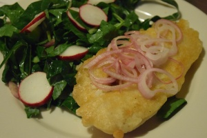 crispy-fried-fish-with-collard-greens-radish-salad