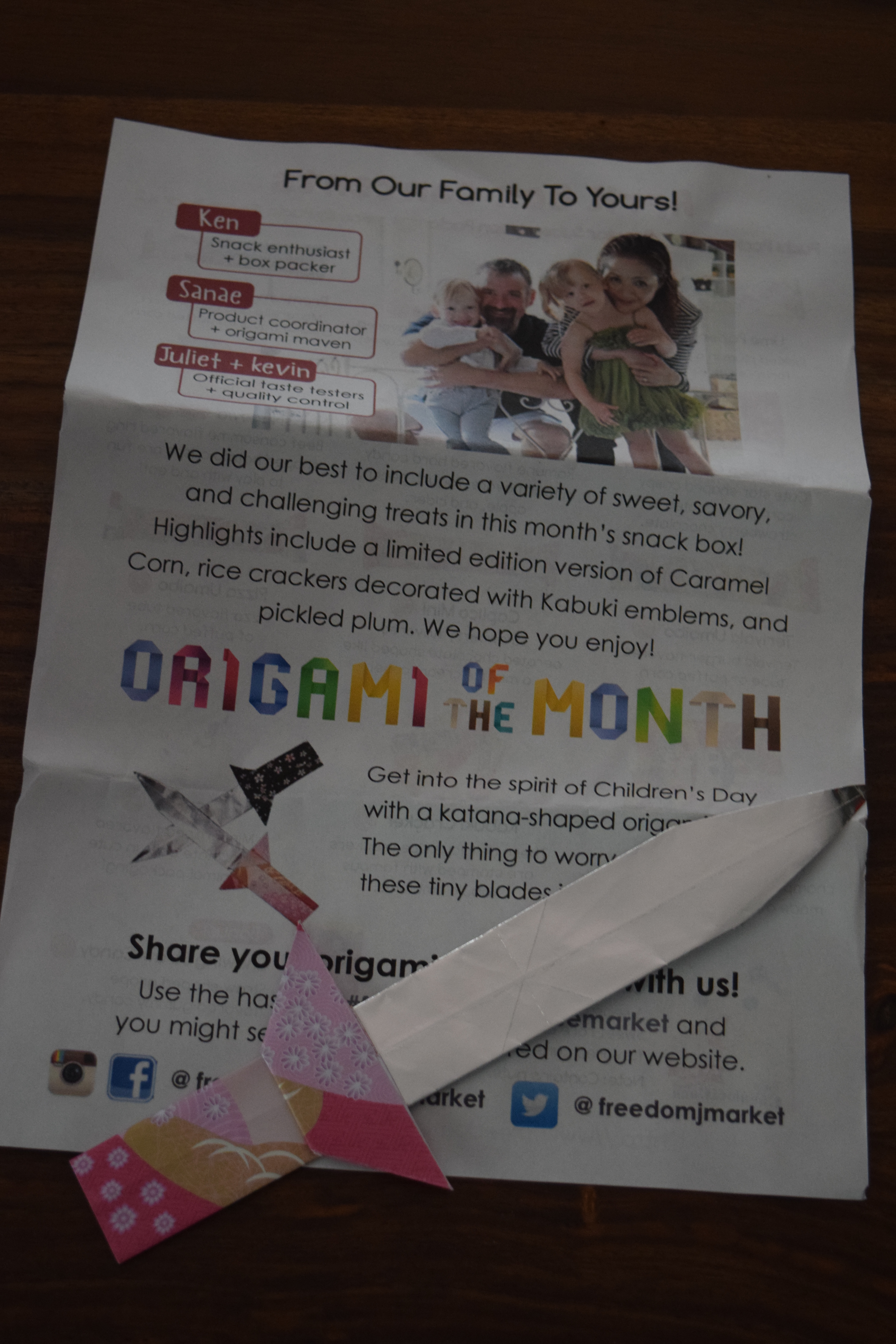 Freedom Japanese Market April 2017 Special Offer Subscription Origami Sword Now To The Snacks